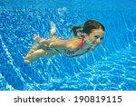 happy active underwater child... | Shutterstock . vector #190819115