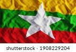 Myanmar Flag  Burma. 3d...