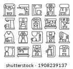 coffee machine line icons set... | Shutterstock .eps vector #1908239137