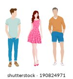 young fashion girl and two boys | Shutterstock .eps vector #190824971