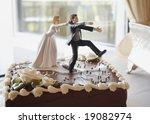 funny wedding cake top  bride... | Shutterstock . vector #19082974