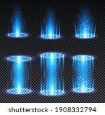 blue hologram portal. magic...
