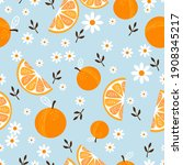 seamless pattern with orange... | Shutterstock .eps vector #1908345217