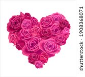 heart shaped bouquet with roses.... | Shutterstock .eps vector #1908368071