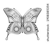butterfly hand drawn ethnic...   Shutterstock .eps vector #1908385354