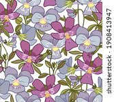 floral seamless pattern with... | Shutterstock .eps vector #1908413947