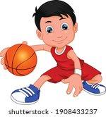 Cartoon Cute Boy Playing...