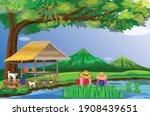 farmer work in paddy field... | Shutterstock .eps vector #1908439651