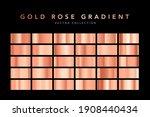 Set Of Gold Rose Foil Texture...
