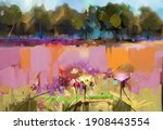 abstract oil painting landscape.... | Shutterstock . vector #1908443554