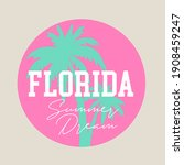 Florida summer beach print design for apparel, t shirt, tee and other uses.