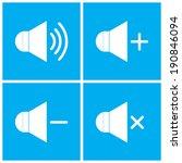speaker icons on blue background