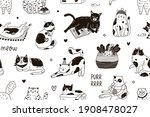 seamless pattern with meow...   Shutterstock .eps vector #1908478027
