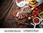 delicious beef steak on wooden... | Shutterstock . vector #190852964