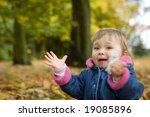 happy baby girl playing in park ... | Shutterstock . vector #19085896