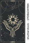 tarot card with two palms... | Shutterstock .eps vector #1908634984