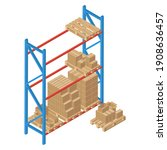 isometric racks with pallet and ...   Shutterstock .eps vector #1908636457