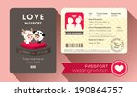 cartoon passport wedding... | Shutterstock .eps vector #190864757