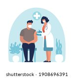 a doctor in a mask and gloves... | Shutterstock .eps vector #1908696391