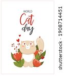vector card with a cat. world... | Shutterstock .eps vector #1908714451
