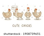 horizontal border with cute...   Shutterstock .eps vector #1908739651