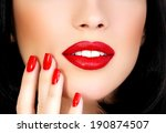 part of female face with red... | Shutterstock . vector #190874507