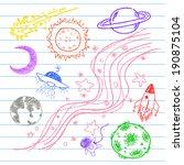 space color pencil draw  | Shutterstock .eps vector #190875104