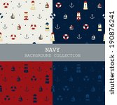 navy background collection  ... | Shutterstock .eps vector #190876241