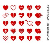 vector set of heart icons. | Shutterstock .eps vector #190885169