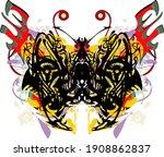 beautiful ornamental butterfly... | Shutterstock .eps vector #1908862837