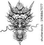 hand drawn dragon head isolate... | Shutterstock .eps vector #1908867577