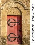 Ancien Red Wooden Door With...