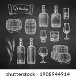 whiskey big set. sketch with...   Shutterstock .eps vector #1908944914