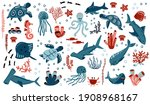 cute vector ocean set with sea... | Shutterstock .eps vector #1908968167