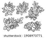 sketches of rose bouquet or... | Shutterstock .eps vector #1908973771