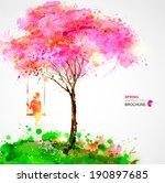spring blossoming tree.... | Shutterstock .eps vector #190897685