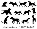 set of dogs in silhouette style.... | Shutterstock .eps vector #1908994147