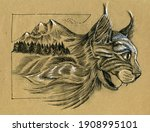 Portrait Of A Growling Cat. The ...