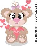 little teddy bear holding a... | Shutterstock .eps vector #1909022251