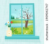 spring window with view  vase... | Shutterstock .eps vector #1909042747