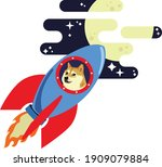 dogecoin dog riding rocket to... | Shutterstock .eps vector #1909079884