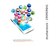 mobile application with social... | Shutterstock .eps vector #190909841