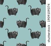 seamless funny black cat... | Shutterstock .eps vector #1909109374
