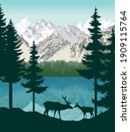 vector mountains with lake and... | Shutterstock .eps vector #1909115764