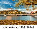 Bratislava castle, Danube river and Bratislava old town autumn view, Slovakia