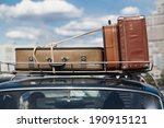 suitcases tied with rope on a... | Shutterstock . vector #190915121