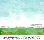 watercolor meadow and sky...   Shutterstock .eps vector #1909268137