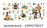 people gardening and planting... | Shutterstock .eps vector #1909270027