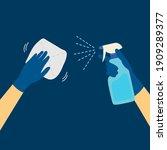 left hand holding rag cleaning... | Shutterstock .eps vector #1909289377