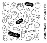 healthy lifestyle cute doodle... | Shutterstock .eps vector #1909321141